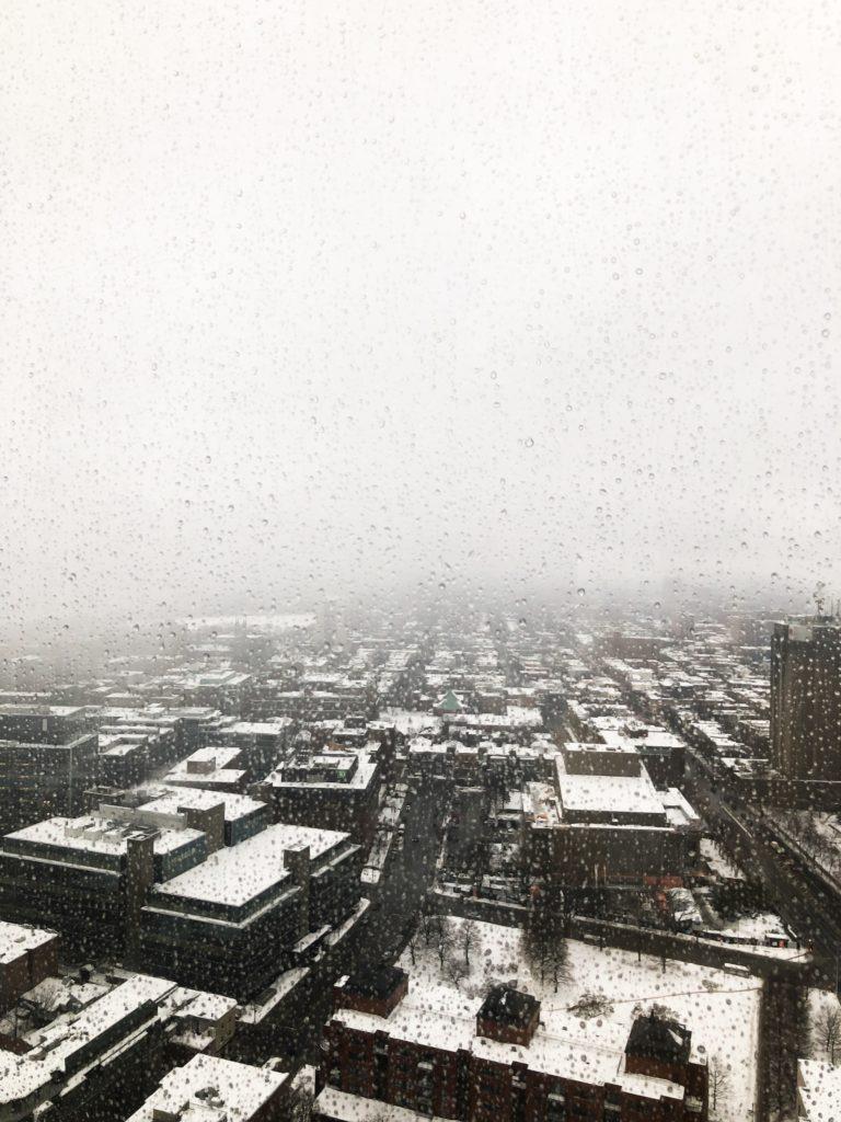 Vue depuis l'observatoire de la capitale à Québec en hiver