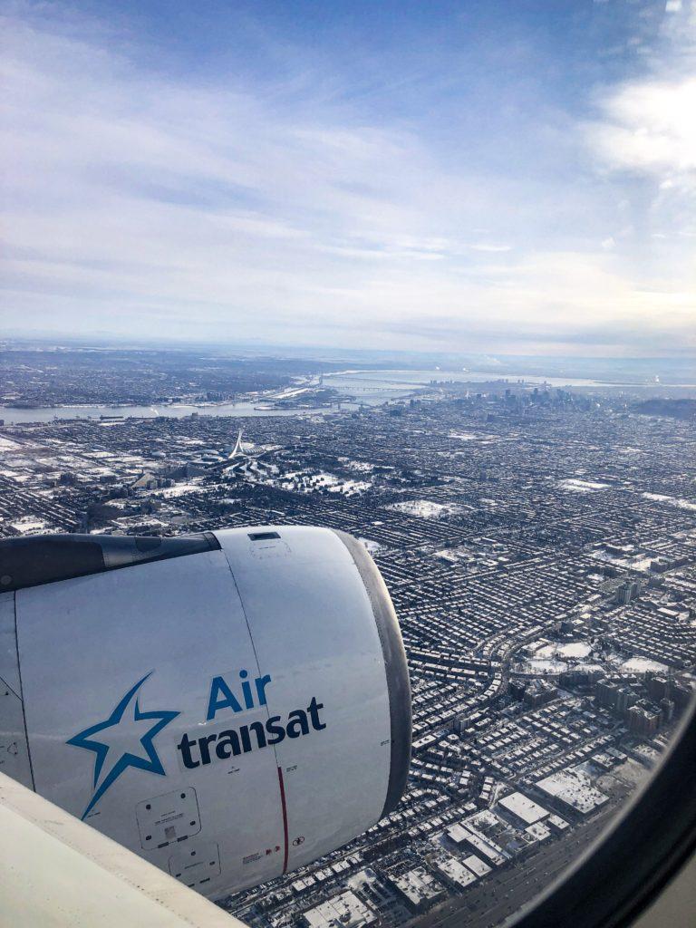 Air Transat - vue en arrivant à Montréal