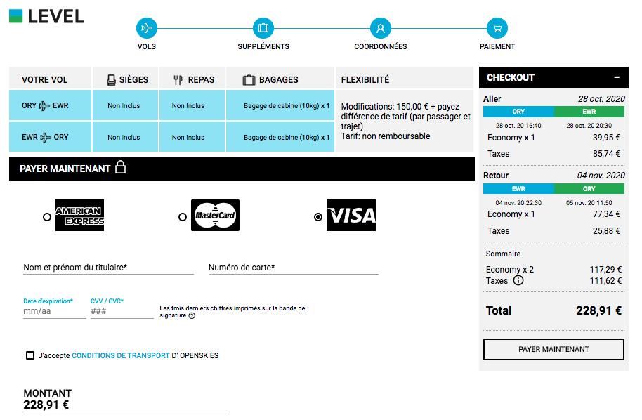 Page de paiement pour des billets d'avion avec Level