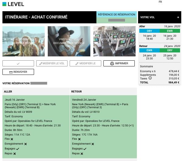 Page de réservation confirmée après achat de billets d'avion sur le site de Level