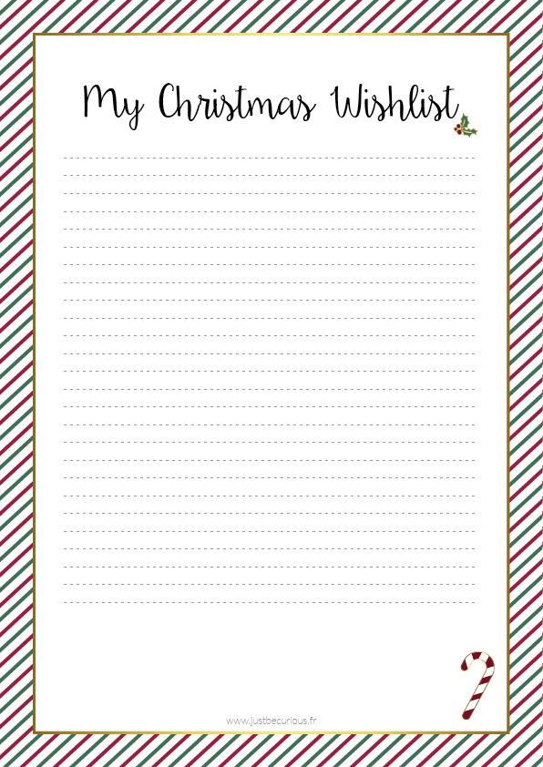 Liste de Noël à imprimer - Just Be Curious